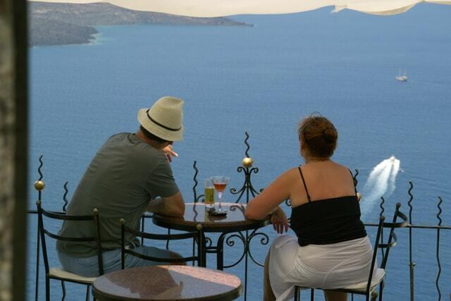 couple in a restaurant enjoying an ocean view