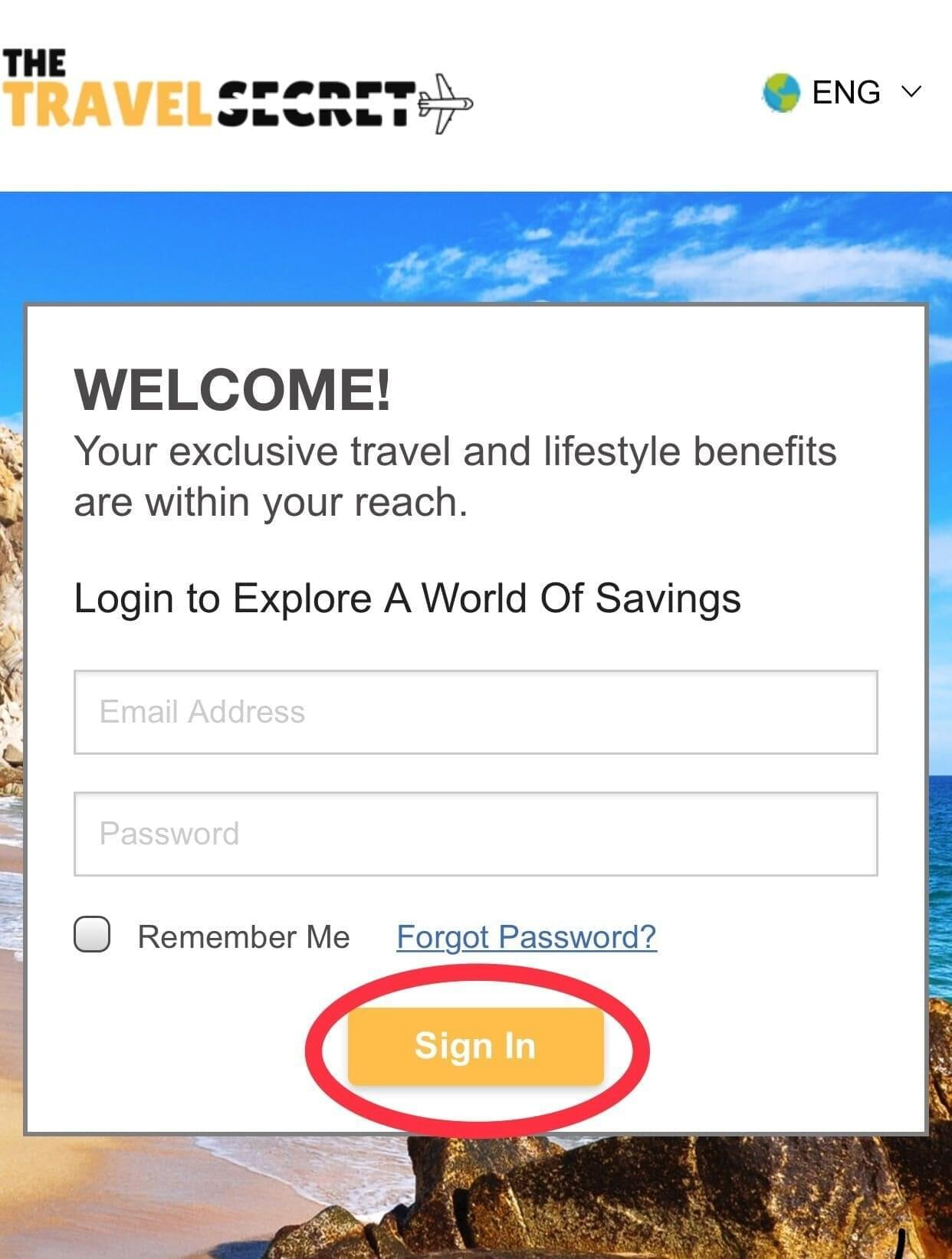 The Travel Secret Log in on your Phone