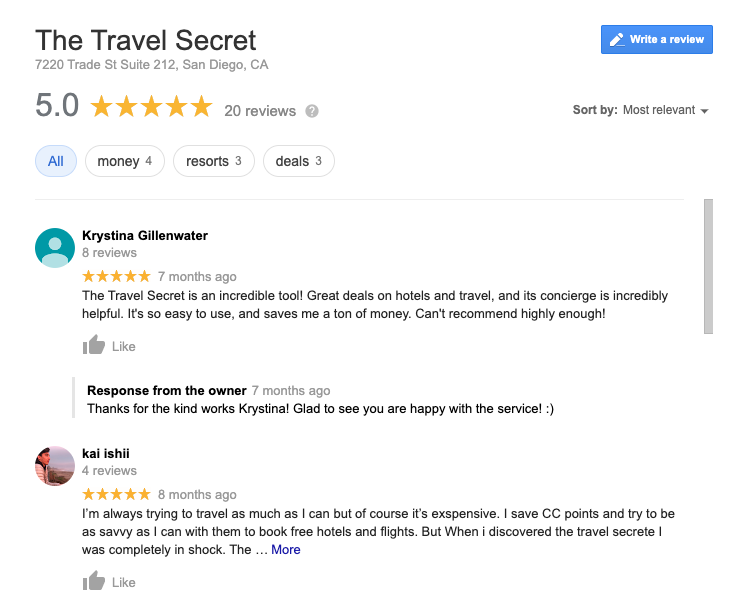 Google review of The Travel Secret