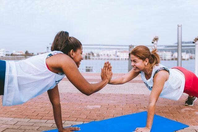 friends doing sport
